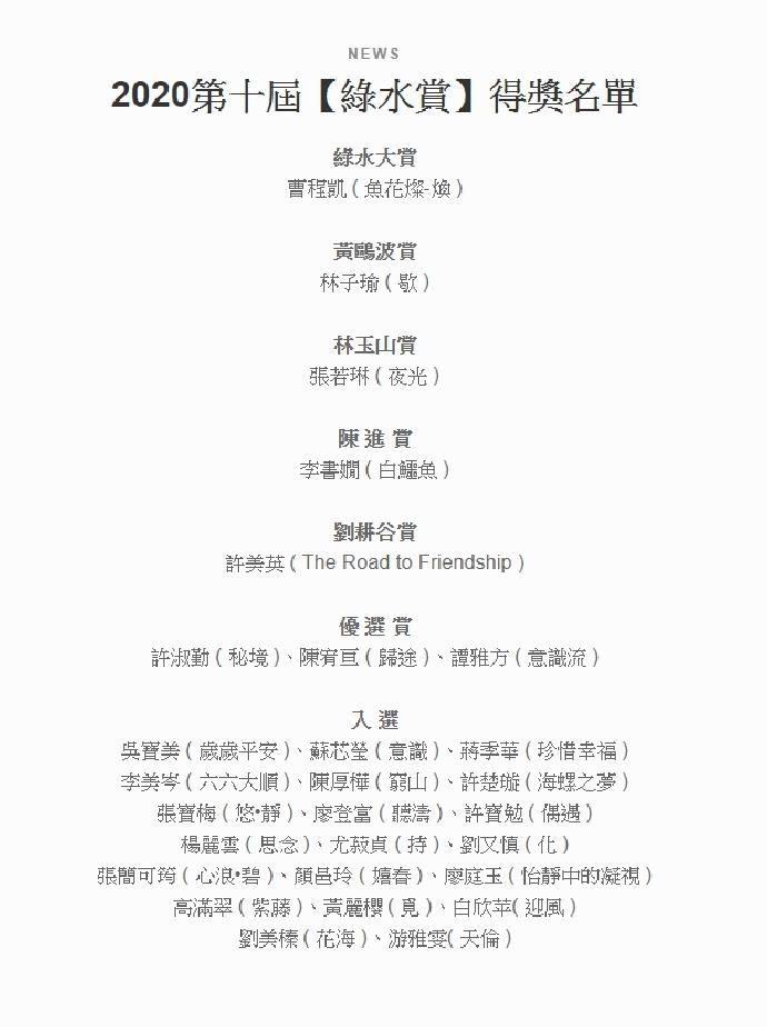 【2020 第十屆綠水賞】本系學生榮獲多項大獎!!